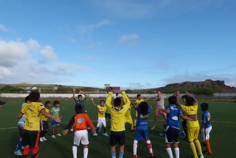 A warm up session as part of Projects Abroad's volunteer sports coaching in Ecuador